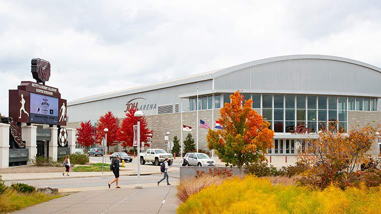 JQH arena building  in the fall season